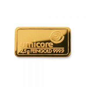 Umicore 2,5 gram goudbaar
