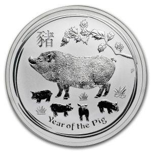 Lunar Pig 1 troy ounce zilveren munt 2019