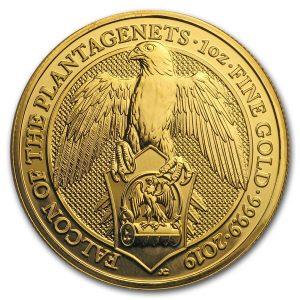 Queens Beast Falcon 1 troy ounce gouden munt 2019