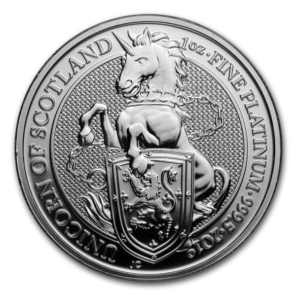 Queens Beast Unicorn 1 troy ounce platina munt 2019