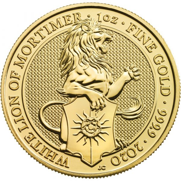 Queens Beast White Lion 1 troy ounce gouden munt 2020